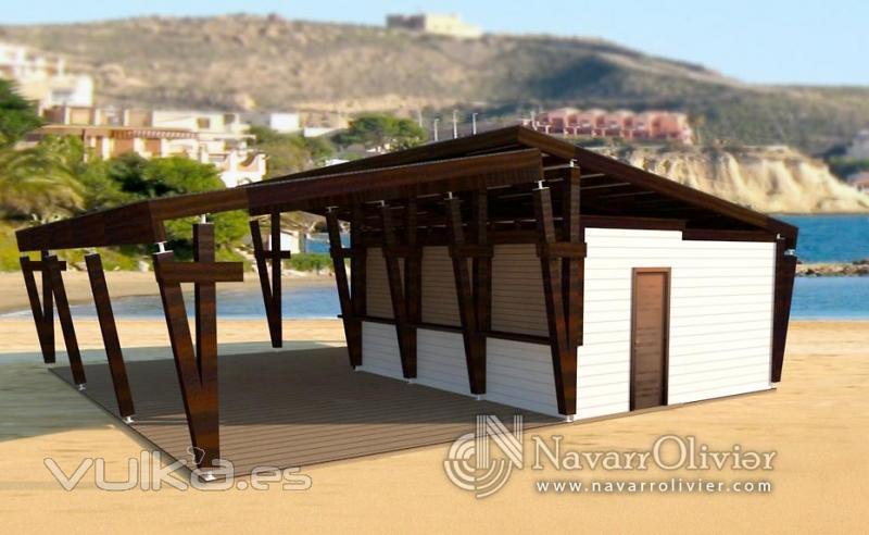 Foto chiringuito de madera de dise o minimalista for Alquiler chiringuito madera