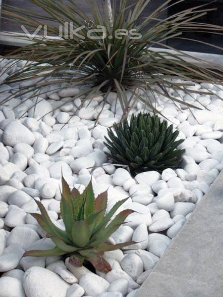 Foto jard n particular con canto rodado blanco for Figuras para jardin zen