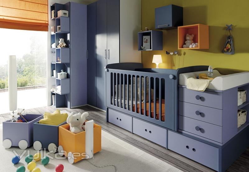 Foto habitacion infantil con cuna convertible y cambiador - Camas convertibles bebe ...