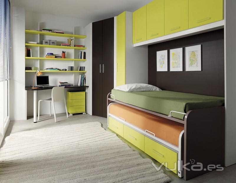 Foto cama compacto con altillo y armario rincon del for Catalogo de muebles juveniles