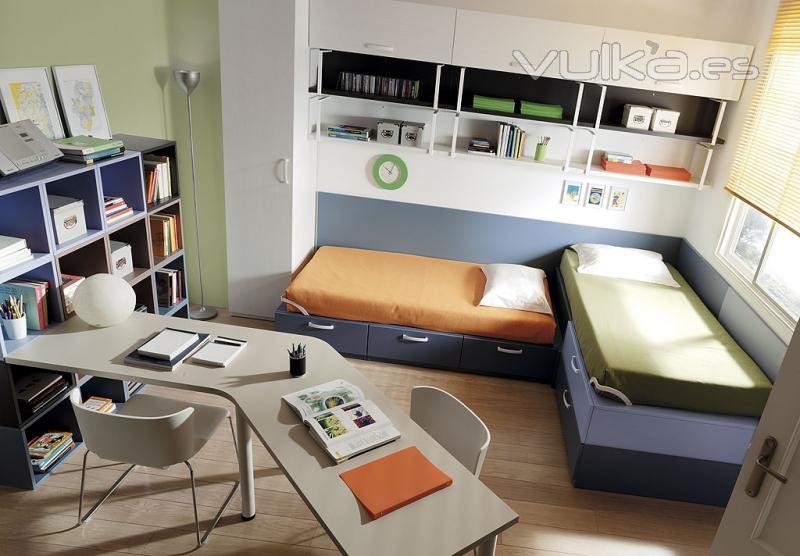 Foto dormitorio juvenil slang con dos camas for Habitacion juvenil dos camas