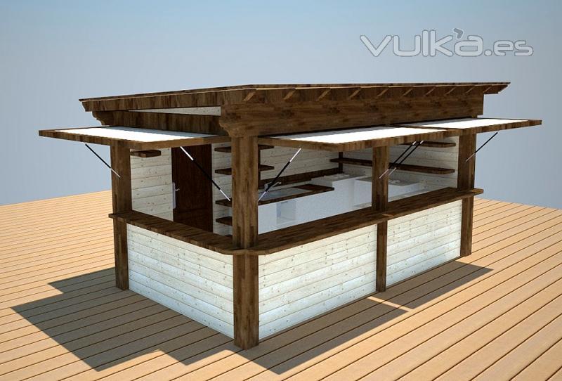 Foto kiosco de madera para ventas de churros helados for Kiosco de madera para jardin