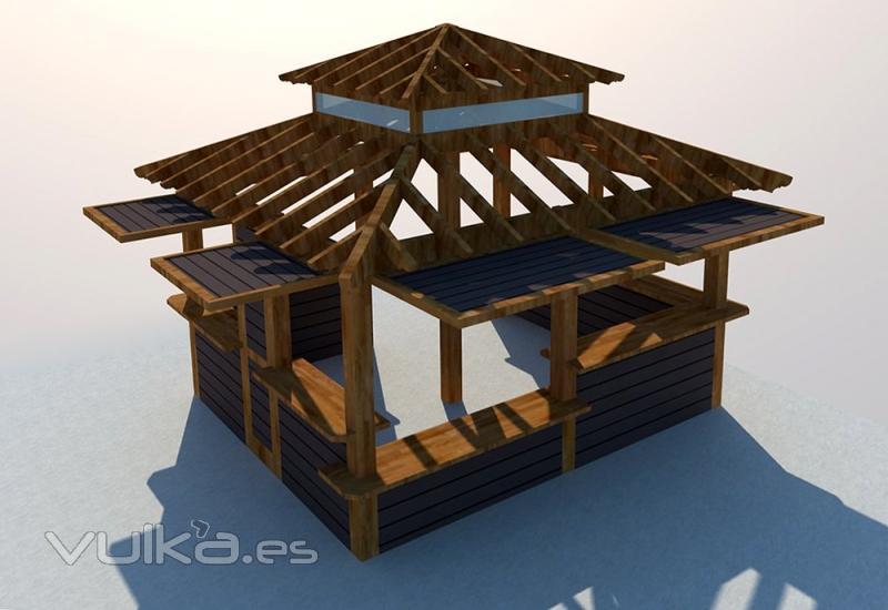 Foto quiosco de madera para negocio for Kiosco de madera para jardin