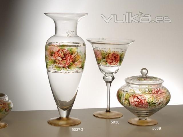 Foto jarrones y caja en cristal decorado venezia - Decoracion jarrones cristal ...