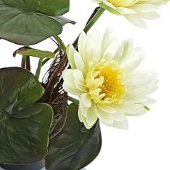 Planta artificial flores nenufares con maceta en lallimona.com detalle1