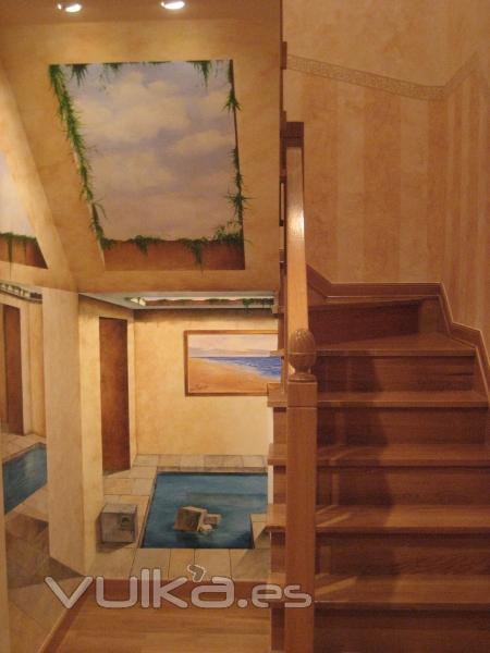 Foto detalle de pintura motivo tranpantojo en hueco de - Huecos de escalera ...