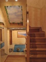 Detalle de pintura, motivo tranpantojo en  hueco de escalera, pintado al oleo y subida de escalera en antiguas ...