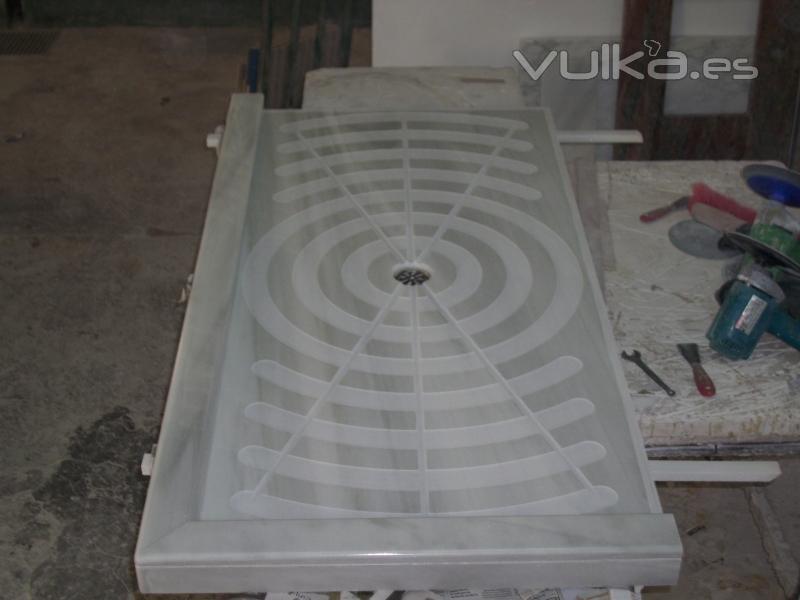 Foto plato de ducha blanco macael dise o - Platos de ducha de marmol ...
