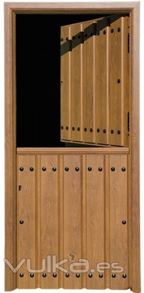 Foto puerta rustica en aluminio modelo partida color embero for Puertas de aluminio rusticas