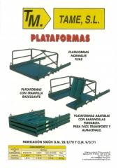 Encofrados tame,s.l. plataformas, plataformas con trampilla, plataformas con barandilla abatible.