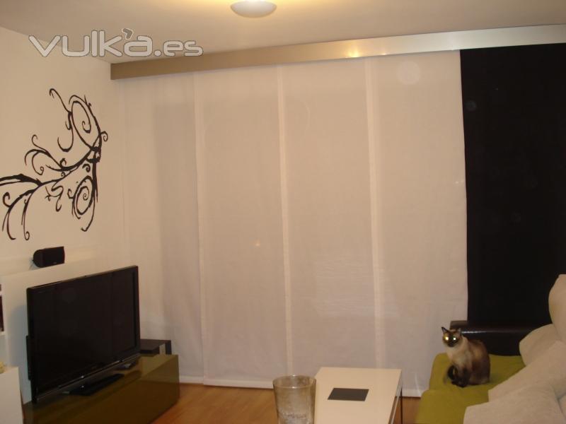 Foto ambiente panel japones loneta combinado con galeria acero - Fotos panel japones ...
