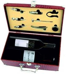 Maleta con dos botellas de vino y accesorios servicio vino