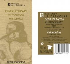 Vino Blanco Chardonnay Debir de La Princesa - Valdepe�as