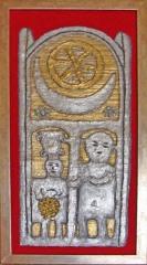 Titulo: Estela Funeraria de Dionisios y Ampelos  Técnica: Mixta Materiales: Pura lana Virgen, Pan de