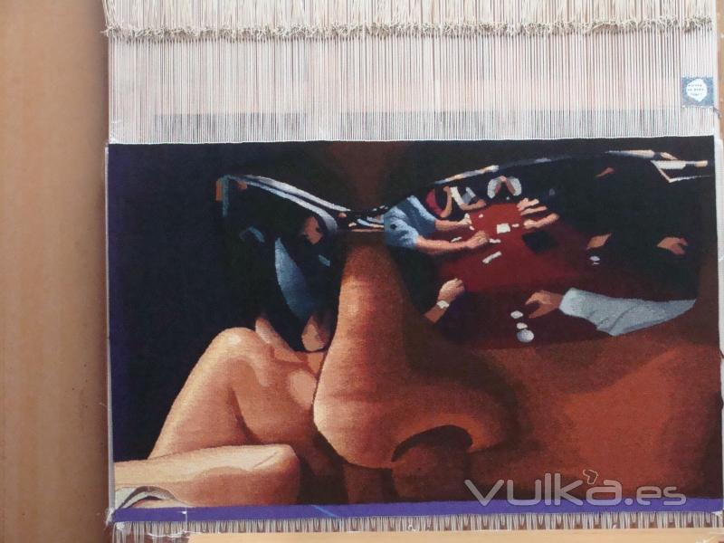 Titulo: Jugando al Póker  Técnica: Tapiz   Materiales: Pura lana Virgen  Medidas: 96 x 57cm. Precio: