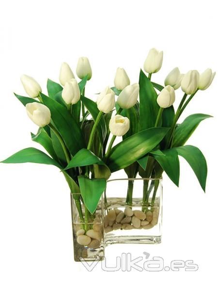 Foto jarrones flores artificiales jarron curva tulipanes - Jarrones flores artificiales ...