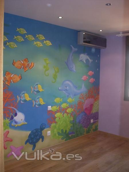 Foto colocacion de mural decorativo infantil resto de - Dibujos infantiles para decorar paredes ...