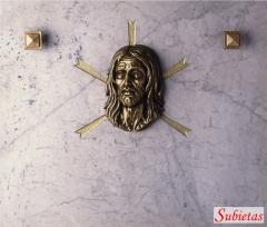Marmol blanco carrara con cristo de bronce