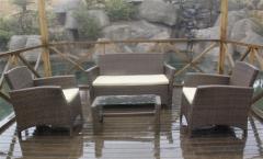 Set martinica-ch, 2 sillones + sofá + mesa baja, aluminio y ratán chocolate