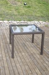 Mesa costabella-ch, aluminio y ratán color chocolate 80x80 cms.