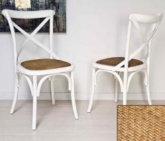 Silla thonet blanco roto asiento rattán