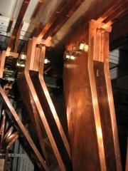 Cuadro electrico. detalle pletinas de cobre.