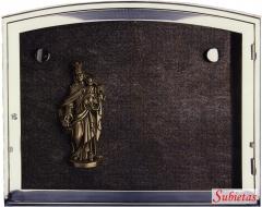 Granito con vrigen del carmen en bronce y marco de acero