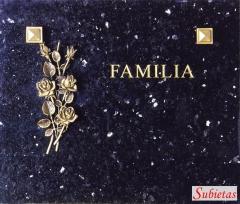 Granito sueco oscuro con ramo de rosas de bronce