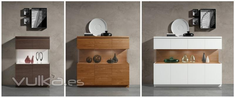 Foto comedor moderno con diferentes aparadores y for Muebles aparadores modernos