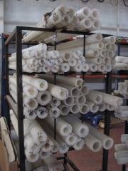 Barras de nylon en tubos.