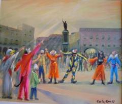 Antroxu, en la plaza delmarqués, gijón, pintura de carlos roces