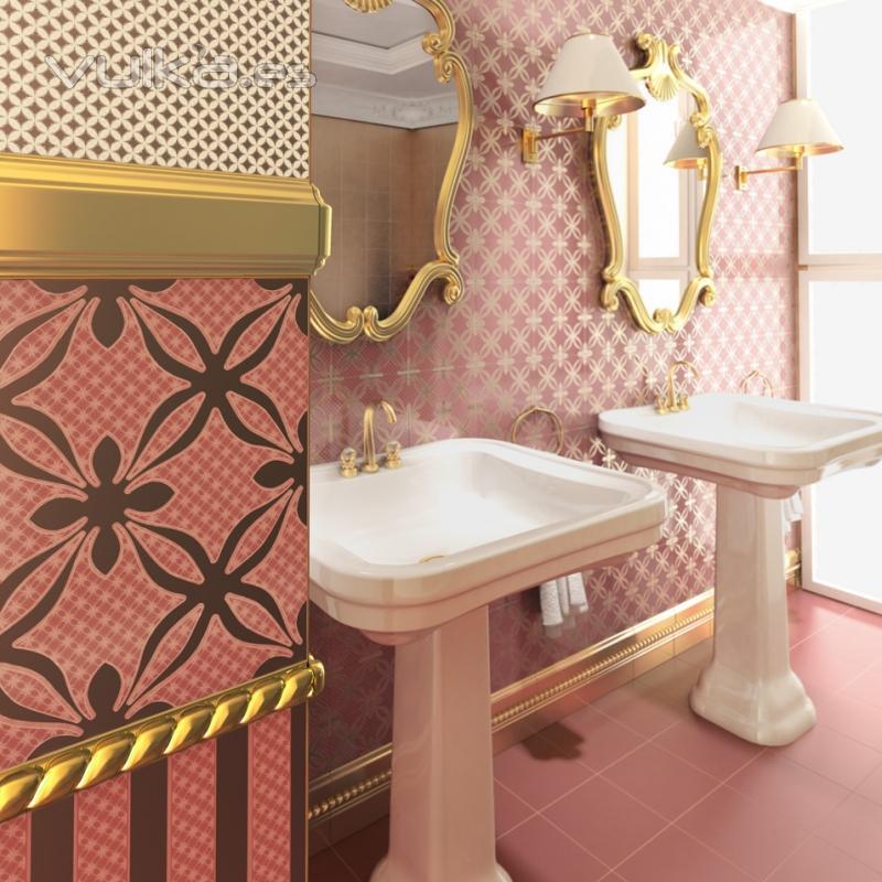 Baldosas Baño Saloni:Serie Candem 20×20 cm, con acabado en oro, revestimiento paredes baño