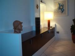 Mueble entrada en blanco y wengue