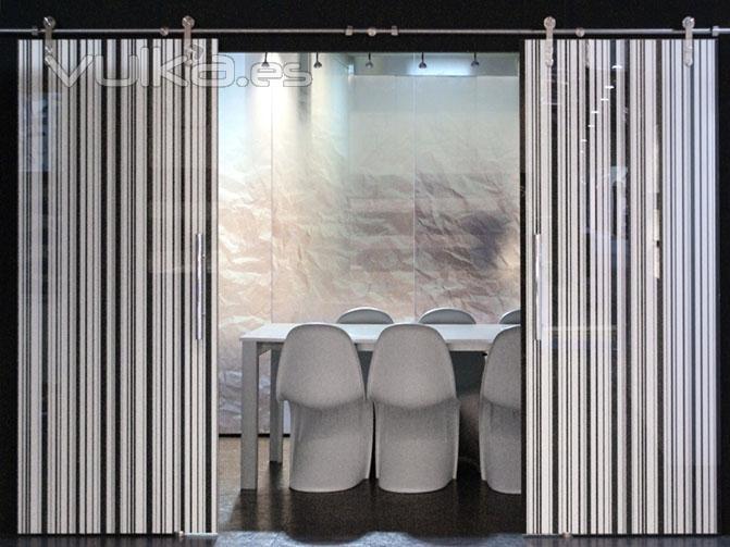 Foto puertas correderas de vidrio serigrafiado y laminado - Puertas correderas vidrio ...