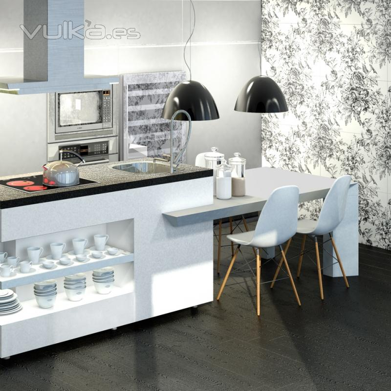 Foto serie blanco brillo de 25x75cm paredes de cocina - Azulejos cocina blanco brillo ...