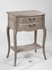 Mesita de noche con estante, en madera natural decapada.
