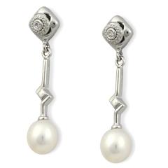 Pendientes plata con perla cultivada, colecci�n boda ie