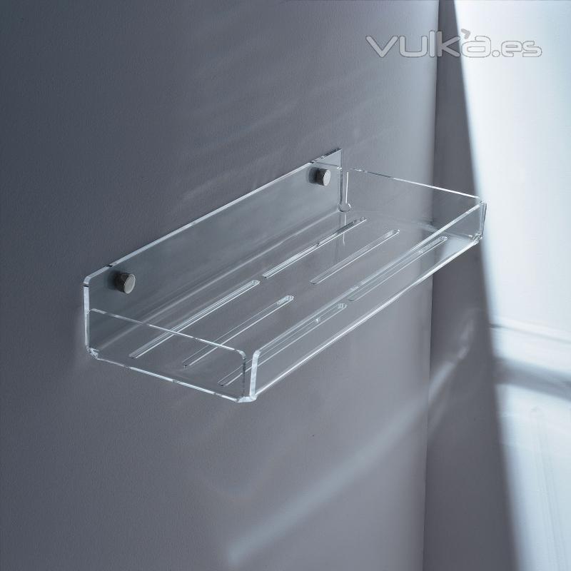 Foto estanteria en plexi para duchas de t luce en for Estanterias ducha bano