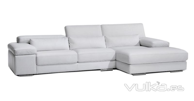 Foto sofa piel chaise longue con m ltiples medidas y for Sofa piel chaise longue