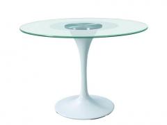 Mesa de dise�o mod. tul-442g, base de aluminio, tapa cristal de 100 cms