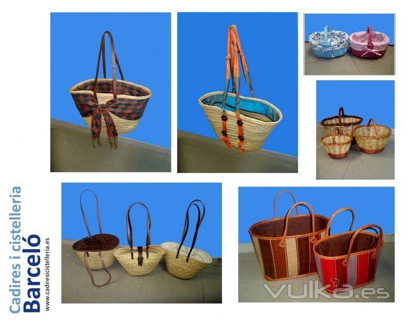 Sillas mesas y taburetes de madera cester a de mimbre en - Cestos de madera ...