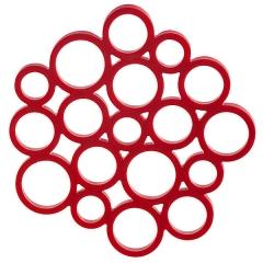 Salvamanteles silicona circulos rojo en lallimona.com (detalle 1)