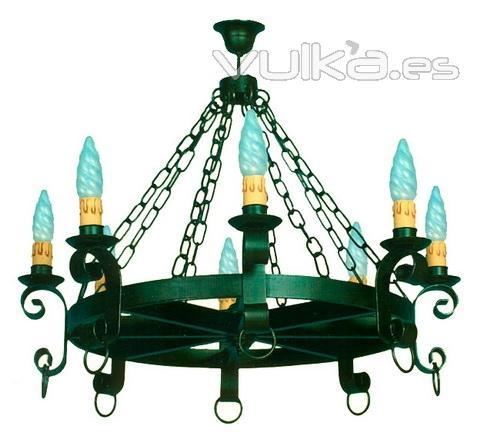 Foto lampara de techo rustica forja especial bodegas - Lamparas para bodegas ...