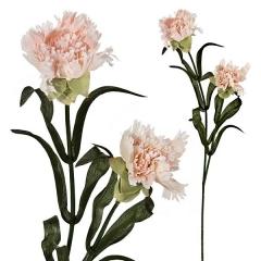 Flor artificial dos claveles rosas con hojas en lallimona.com (detalle 1)