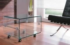 Mesa baja cb096b, rectangular, cristal curvado, ruedas.