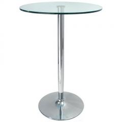 Mesa alta bernie, cromada, tapa cristal 60 cms. diám.