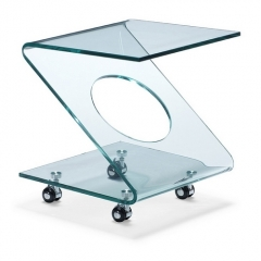 Mesa auxiliar s013, dise�o, cristal curvado, ruedas.