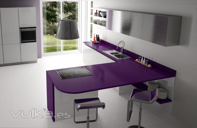Foto cocina con encimera de cuarzo modelo lila for Encimeras de cuarzo