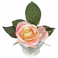 Arreglo floral rosa rosada maceta vidrio 12 en lallimona.com (detalle 1)