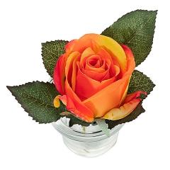 Arreglo floral rosa naranja maceta vidrio 12 en lallimona.com (detalle 1)